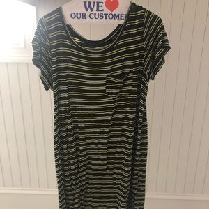 Hollister navy and yellow striped T-shirt dress